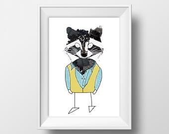 Raccoon Collage Illustration