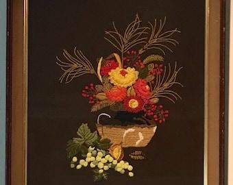 Vintage Crewel Flower Basket