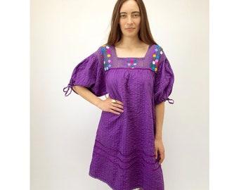 Uva Dress // vintage boho midi sun Oaxacan hippie ethnic Mexican purple pin tucked caftan hippy cotton 70s 1970s hand embroidered // O/S