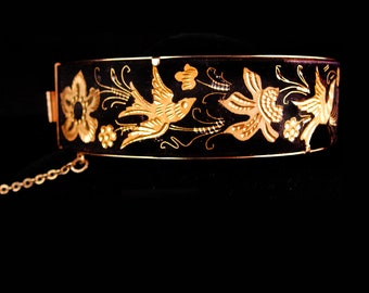 Victorian Bird  Bracelet  - doves in Gold - hinged Bangle - vintage mourning Swallow - black figural flower jewelry -victorian bangle
