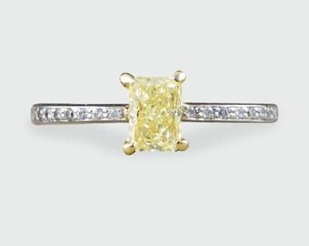 Contemporary Vivid Yellow Diamond Engagement Ring with Diamond set Shoulders RG437