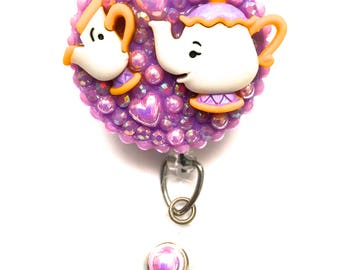 Retractable Badge Reel - Mrs. Potts and Chip