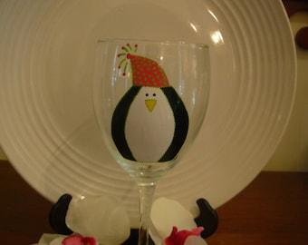 Penguin Wine Glass,  Hand painted Wine Glass, Personalized, Christmas , Personalized Wine Glass, Penguin Wine Glass, Handpainted Wine Glass