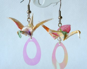 Handmade Origami Earrings with Cranes of Happiness Traditional Japanese Washi Paper Colorful Pink Yellow Transparent