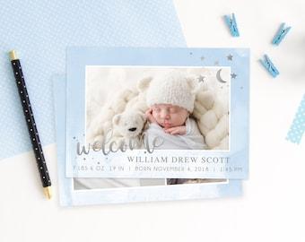 Birth Announcement Template - Newborn Announcement - Boy Birth Announcement - Newborn Template for Photoshop - Photographer Template
