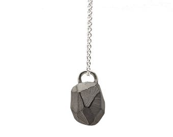 Pendant with necklace, faceted, blackened 925 sterling silver: Rocky pendant White