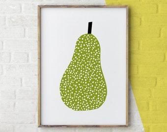 Pear Print, Scandinavian Art, Modern Print, Pear Wall Art, Kitchen Decor, Wall Art Kitchen, Wall Art Printable, Scandinavian Modern