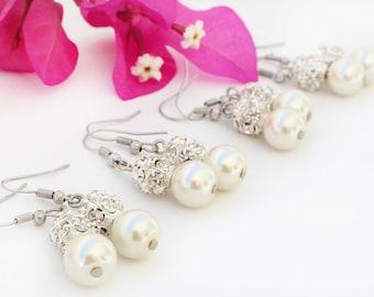 Set of 6 Bridesmaid earrings, pearl earrings, wedding gift, bridal jewelry, wedding jewelry set, bridesmaid pearl earrings, rhinestone