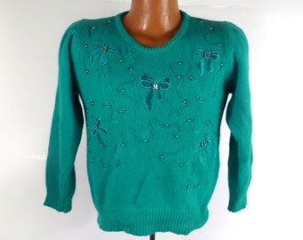 Ugly Christmas Sweater Vintage Beaded Gem Holiday Tacky Green Bows