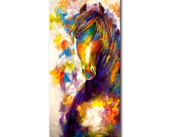 """Colorful horse painting Abstract painting 72"""" x 36"""" enormous acrylic on canvas Modern Palette knife by Osnat ready to hang Wired animal art"""