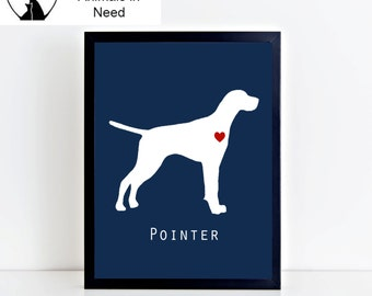 Pointer Dog Printable Wall Art - Modern and Clean Pointer Puppy Dog Decor - Custom Background Color - 8x10