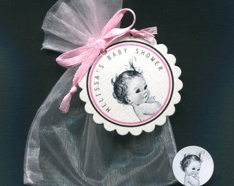Personalized Baby Girl Baby Shower Favor Candy Bags, Baby Girl Vintage, Includes Tags, Candy Stickers Pink Organza Bags, Set Of 30