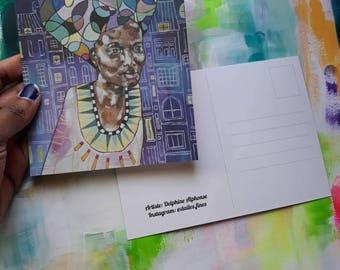 Postcard painting, portrait city