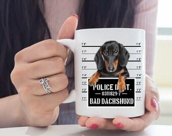 Funny Dachshund Coffee Mug Long Dog Jail Cup Wiener Dog