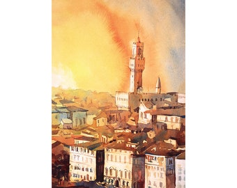 Watercolor painting of Florence, Italy, Palazzo Vecchio painting, Florence art watercolor Italy, skyline, art print Italy fine art landscape