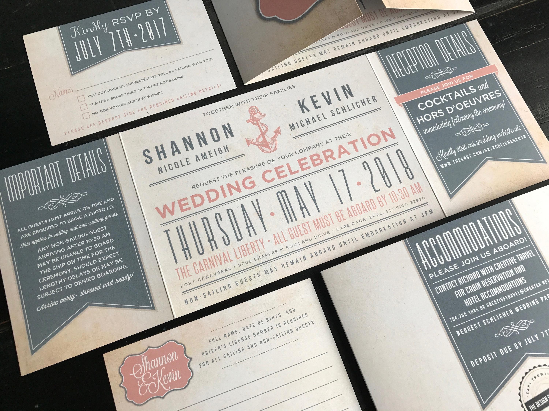 Nautical Custom Fold Wedding Invitation Suite Wedding
