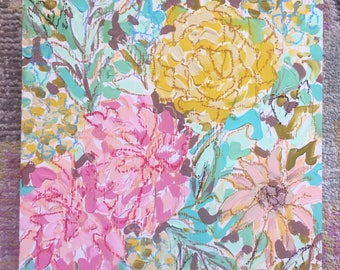 """8"""" x 8"""" x 1.5"""" Floral Painting on a Birch Panel - Gouache and Oil Pastel in Pinks, Yellows, and Turquoise"""