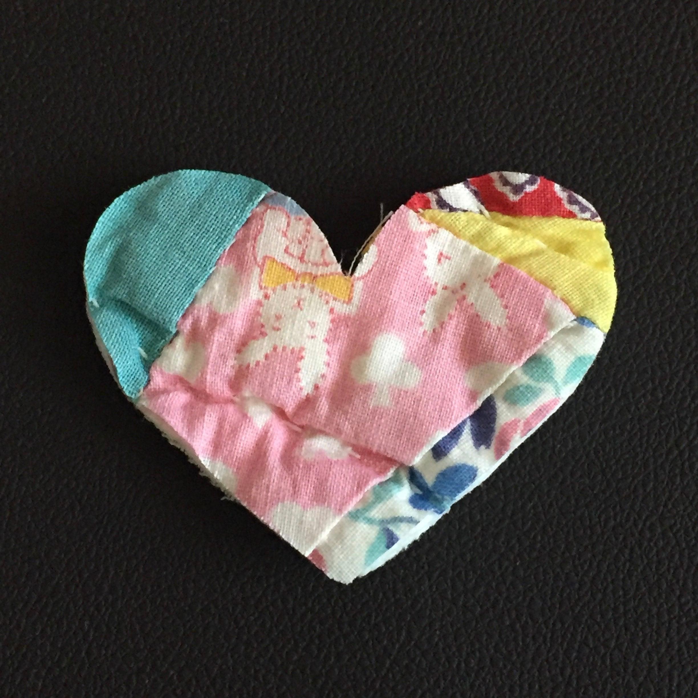 6 Small Heart Die Cuts fr Bright Feedsack Double Wedding Ring ...