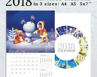 Wall Printable Calendar 2018