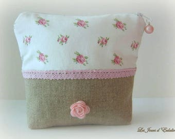 Brown linen pouch and floral cotton