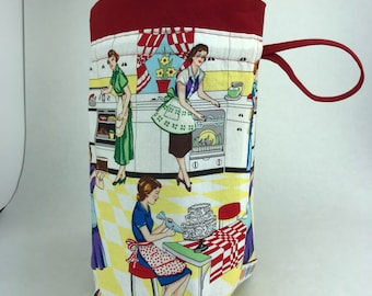 Retro Kitchen - Knitting, Crochet or Fiber-work Project Bag