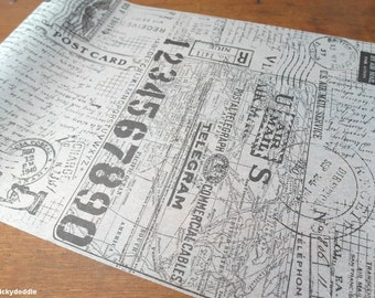 Maps, Postmarks, Numbers, and Handwriting Tissue Paper Wrap