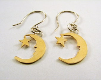 Brass Moon and Star Earrings with Sterling Silver Ear Wires
