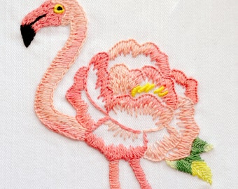 Embroidery pattern, PDF Digital Download, Floral Flamingo / NaiveNeedle