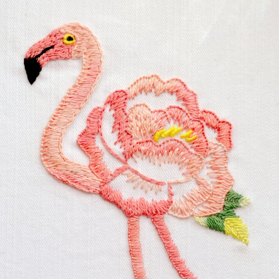 Flamingo embroidery pattern embroidery art floral flamingo for Embroidery office design version 9
