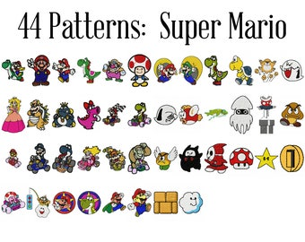Super Mario Machine Embroidery Patterns, Nintendo Embroidery, Mario Brothers, Luigi Embroidery, Princess Peach, Bowser Patch, Yoshi