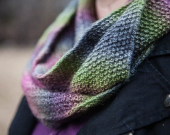 Green/Purple/Grey Knit Infinity Scarf