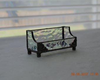 Iridescent Hammered Stained Glass Business Card Holder