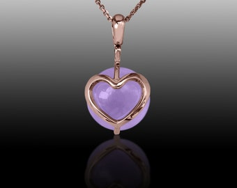 Heart  Pendant - 18K Rose Gold  With Amethyst  Necklace