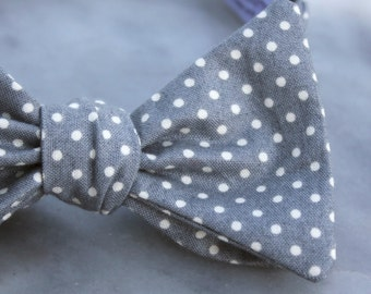 Bow Tie for Men in Pewter Gray and White Polka Dots - Clip on, pre-tied adjustble strap or self tying