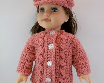 18 inch Doll Sweater Fits American Girl Doll  Cameo Pink Bulky Cardigan & Slouch Cap Toys