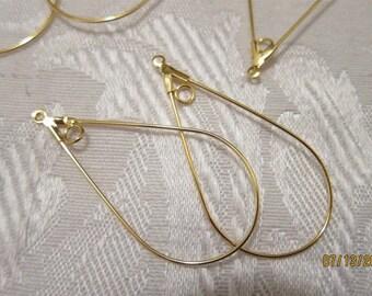 40x22mm, Gold-Plated Brass, Teardrop Hoop Findings - 4, 6, 10 & 20 Pair Pkgs and Larger Pkgs