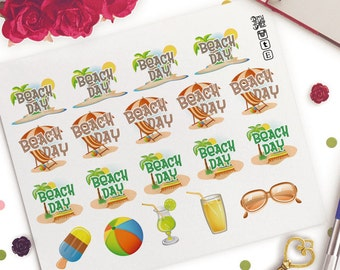 Beach Day Planner Stickers   Life Planners   Travel   Vacation   Day Off   Summer   Getaway