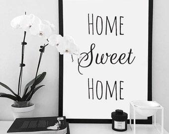 """Home sweet home"" print + frame"