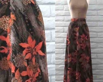Vintage 1960's corduroy skirt SAKS FIFTH AVENUE autumn floral maxi - L