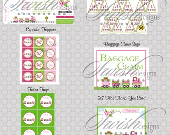 Trains and Planes Birthday Party  for Girls - Printable Party - Digital