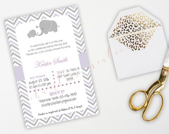 Baby Elephant Purple and Grey Baby Shower Invitation. Printable Baby Shower Invitation.