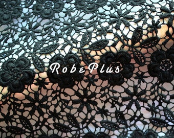 Black Lace fabric-Floral Chemical Lace - Premium Heavy Lace - Black Floral Lace Fabric-Black Embroidered Lace Fabric-L85