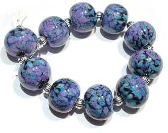 SRA Handmade Glass Lampwork Beads, Turkish Delight Rounds