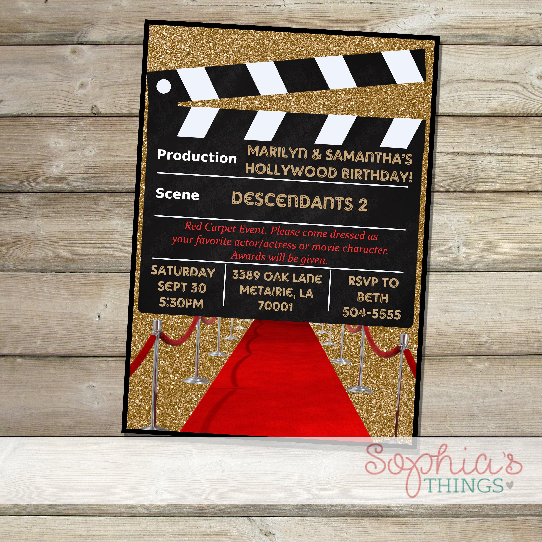 Movie Party Invitation Hollywood Movie Birthday Party