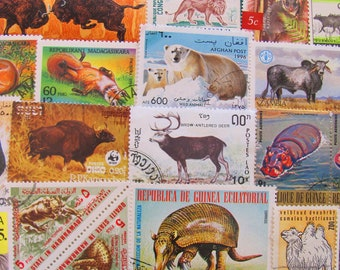 Animal Farm 50 Vintage Animals Postage Stamps Mammals Zebra Polar Bear Armadillo Elephant Rhino Natural History Zoo Worldwide Philately 2