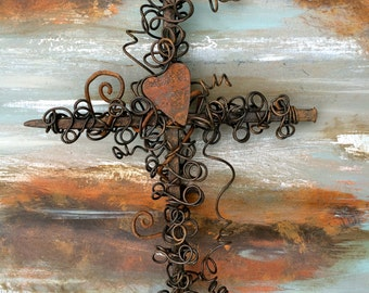 Cross with Heart - Rustic Cross - Rustic Nail Cross - Rustic Crosses - Rusty Cross - Rusty Wire Cross - Rusty Heart - Cross of Nails