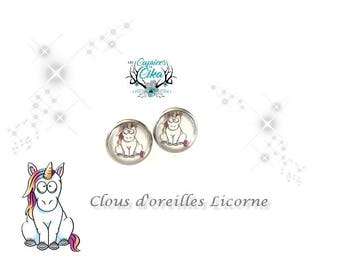 sitted unicorn 12mm earring set hypoallergenic stainless steel.