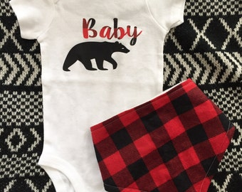Baby bear bodysuit, mama bear, newborn, plaid, buffalo plaid, coming home outfit, newborn, christmas shirt, baby, shower gift