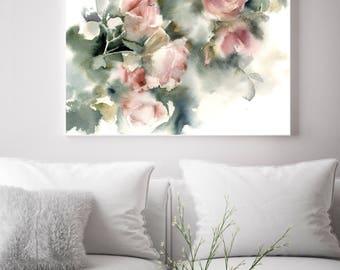 Roses fine art print, Pink roses watercolor painting print, flowers print, modern botanical wall art print, giclee print of roses