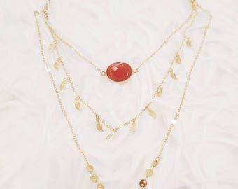 Autumn triple chain necklace